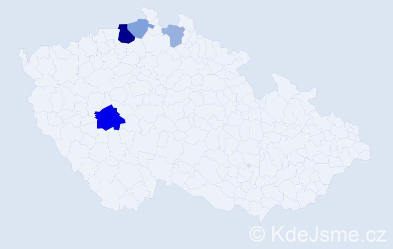 Příjmení: 'Čmuchařová', počet výskytů 10 v celé ČR