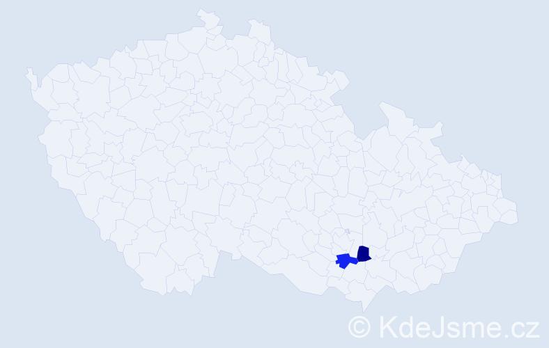 Příjmení: 'Čeketová', počet výskytů 4 v celé ČR
