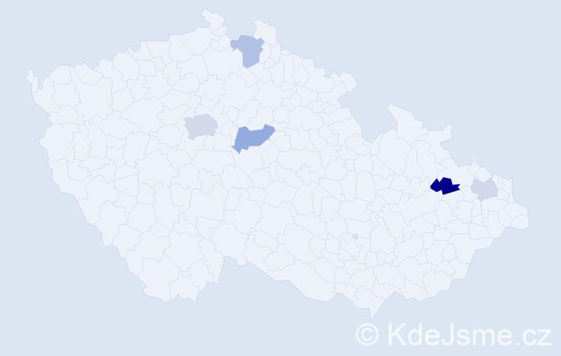 Příjmení: 'Ihnat', počet výskytů 7 v celé ČR