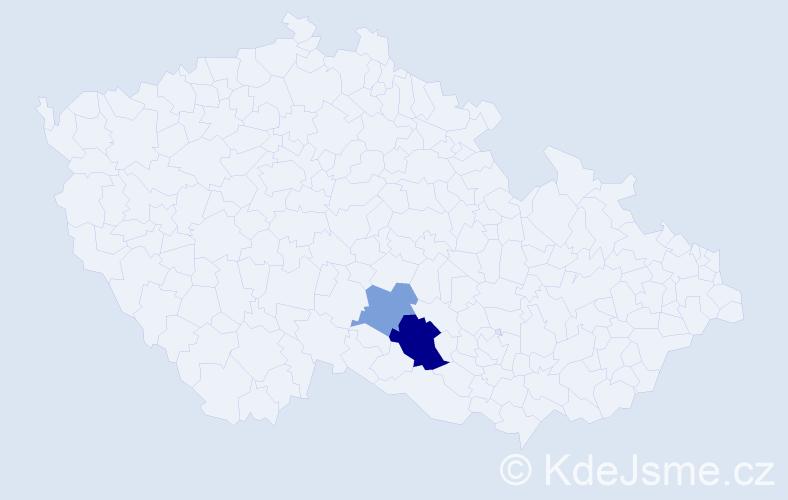 Příjmení: 'Benál', počet výskytů 4 v celé ČR