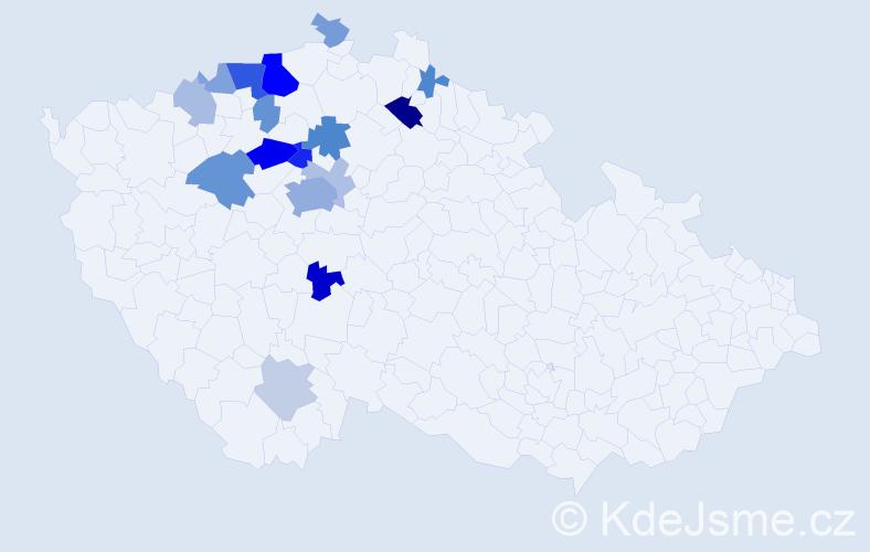 Příjmení: 'Kokšalová', počet výskytů 44 v celé ČR