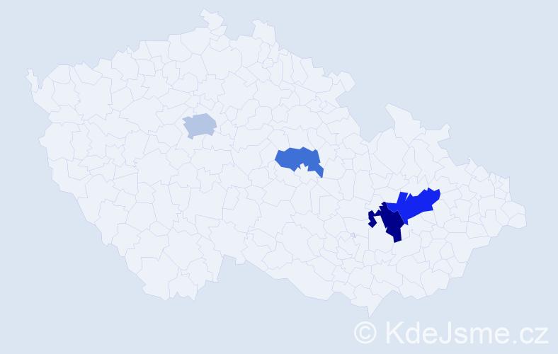 Příjmení: 'Haicl', počet výskytů 7 v celé ČR