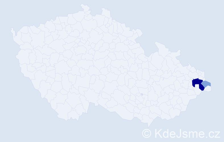 Příjmení: 'Imričko', počet výskytů 7 v celé ČR