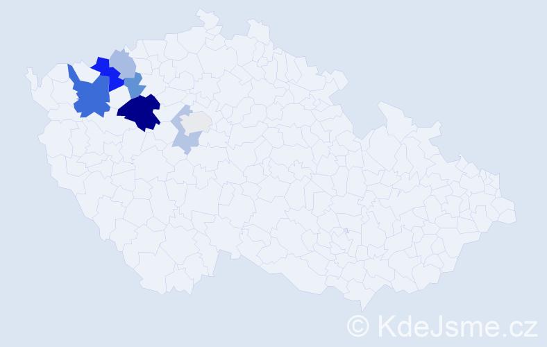 Příjmení: 'Cédlová', počet výskytů 16 v celé ČR
