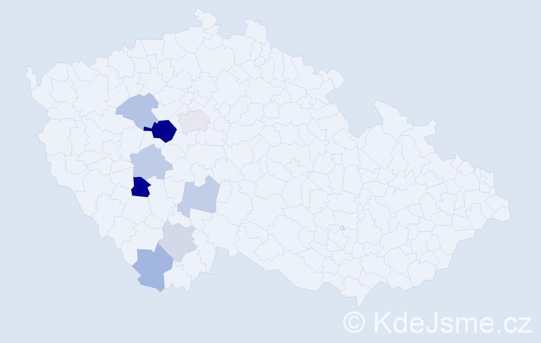 Příjmení: 'Halaburdová', počet výskytů 17 v celé ČR