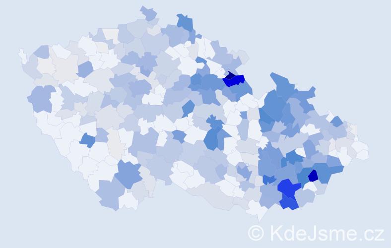 Příjmení: 'Chmelař', počet výskytů 1266 v celé ČR