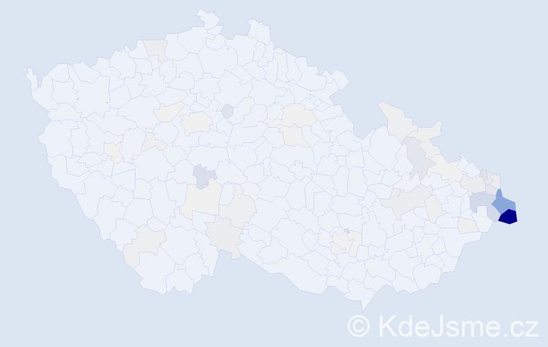 Příjmení: 'Čmiel', počet výskytů 236 v celé ČR