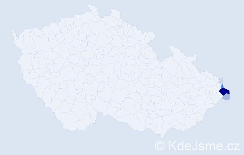 Příjmení: 'Kujawa', počet výskytů 45 v celé ČR