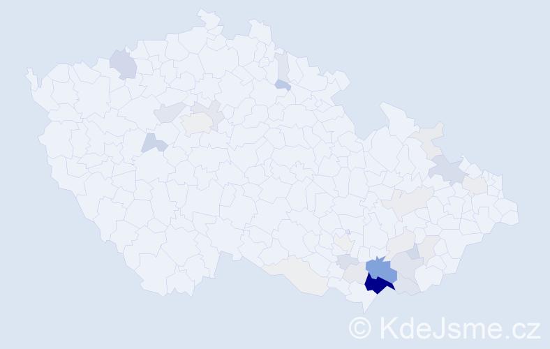 Příjmení: 'Kordula', počet výskytů 164 v celé ČR