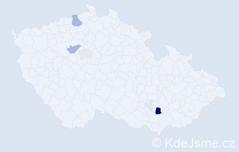 Příjmení: 'Khoury', počet výskytů 10 v celé ČR