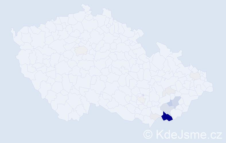 Příjmení: 'Chrenčíková', počet výskytů 54 v celé ČR