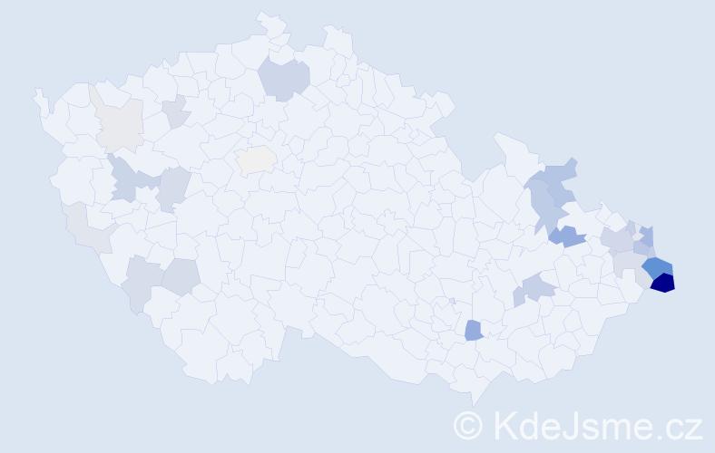 Příjmení: 'Jopek', počet výskytů 100 v celé ČR