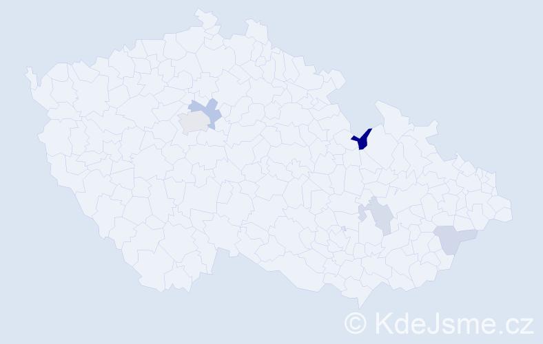 Příjmení: 'Illichmanová', počet výskytů 9 v celé ČR
