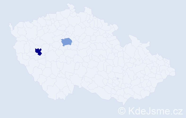 Příjmení: 'Ebenlendrová', počet výskytů 5 v celé ČR