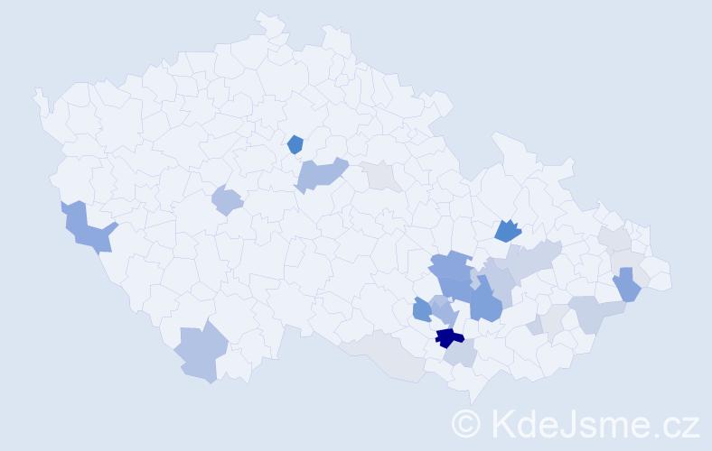 Příjmení: 'Aujeský', počet výskytů 80 v celé ČR
