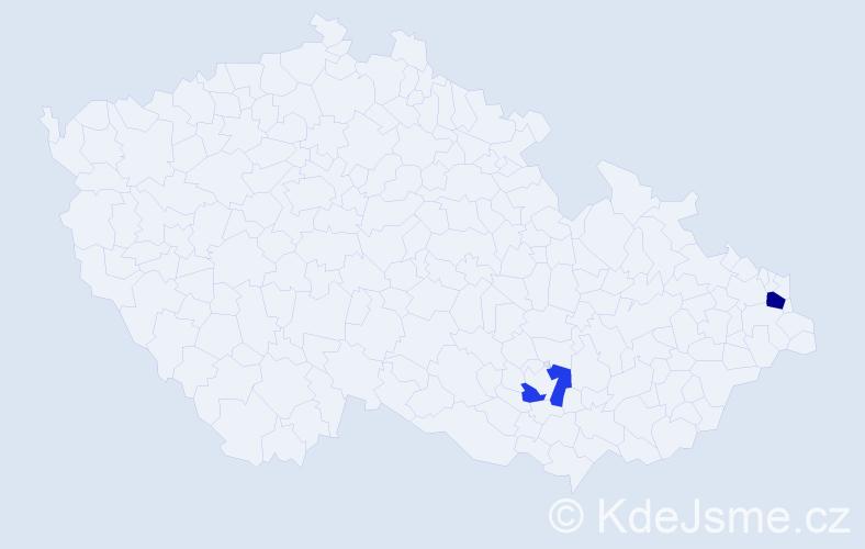 Příjmení: 'Lazišťanová', počet výskytů 3 v celé ČR