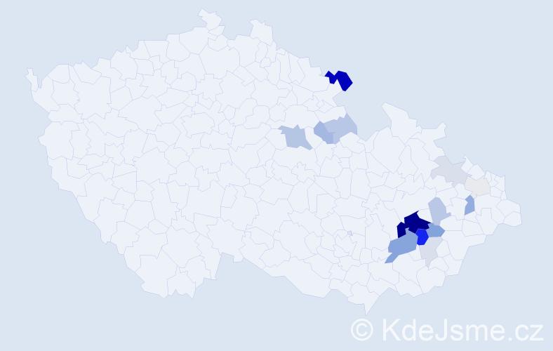 Příjmení: 'Dočkalíková', počet výskytů 43 v celé ČR