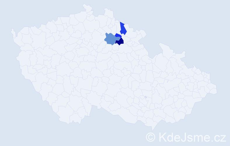 Příjmení: 'Blíma', počet výskytů 7 v celé ČR
