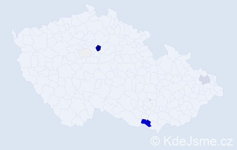 Příjmení: 'Kmet', počet výskytů 13 v celé ČR