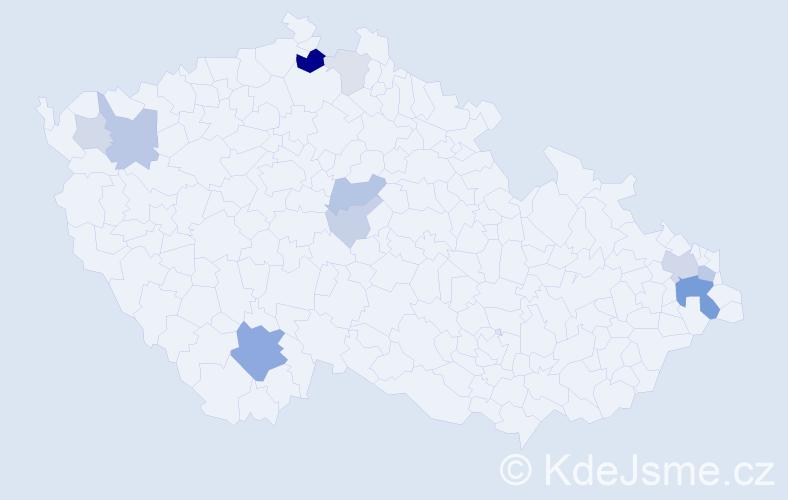 Příjmení: 'Jakobi', počet výskytů 29 v celé ČR