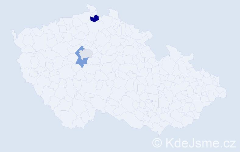 Příjmení: 'Bally', počet výskytů 3 v celé ČR