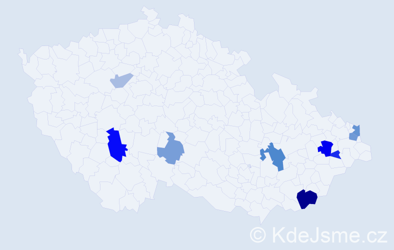 Příjmení: 'Jachník', počet výskytů 20 v celé ČR