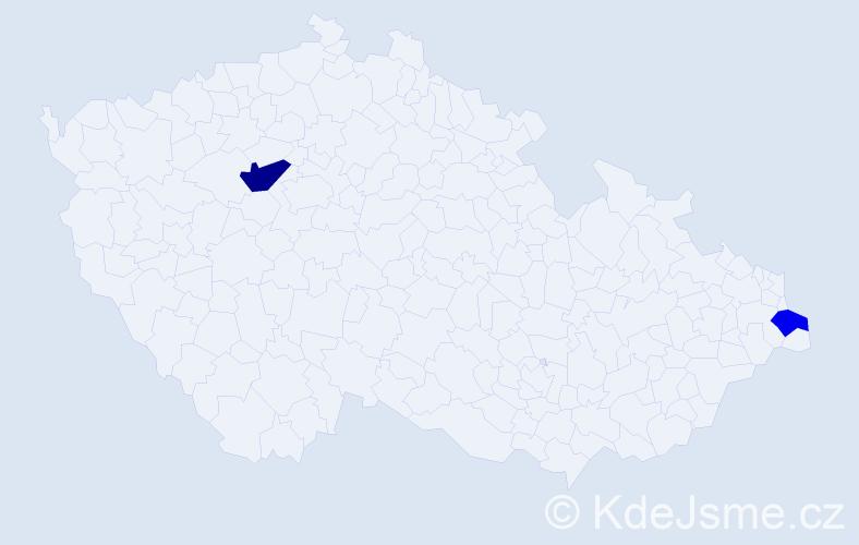 Příjmení: 'Guzdeková', počet výskytů 3 v celé ČR