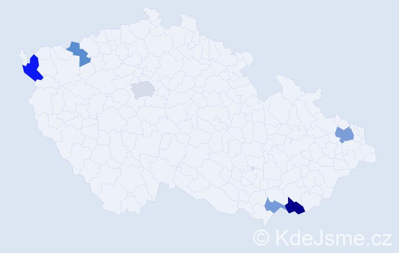 Příjmení: 'Ďurneková', počet výskytů 11 v celé ČR