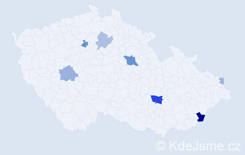 Příjmení: 'Fabušová', počet výskytů 12 v celé ČR