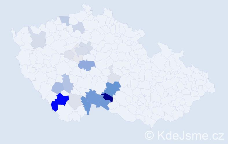 Příjmení: 'Jilečková', počet výskytů 90 v celé ČR
