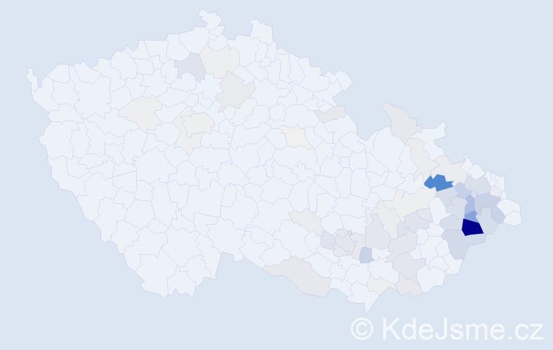 Příjmení: 'Halamíček', počet výskytů 274 v celé ČR
