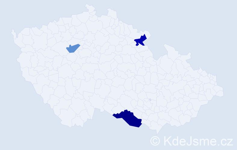 Příjmení: 'Haklička', počet výskytů 9 v celé ČR