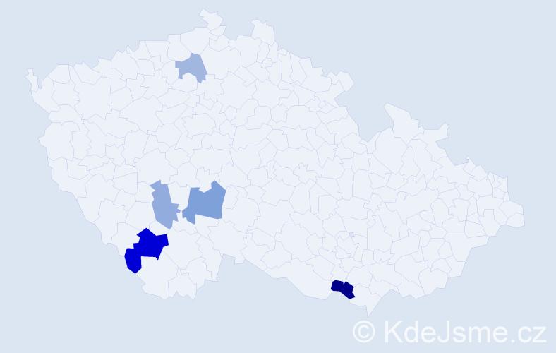Příjmení: 'Debnarová', počet výskytů 9 v celé ČR