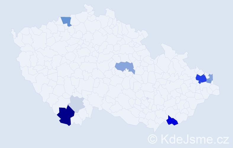 Příjmení: 'Kaločajová', počet výskytů 37 v celé ČR