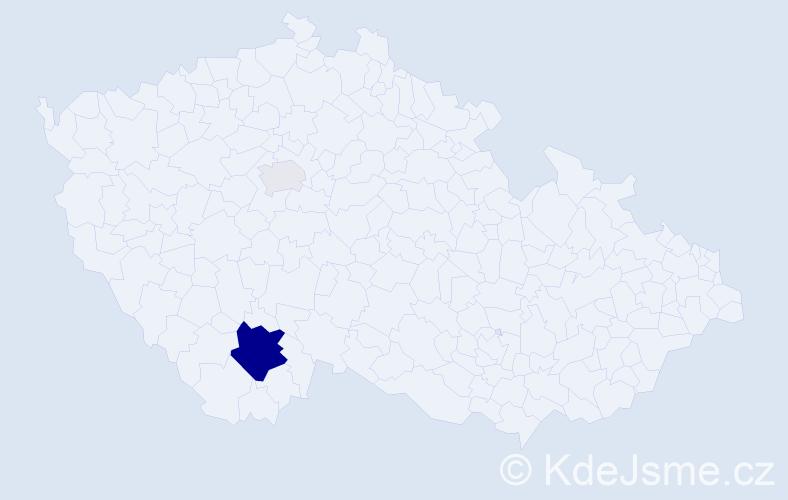 Příjmení: 'Krofiková', počet výskytů 9 v celé ČR