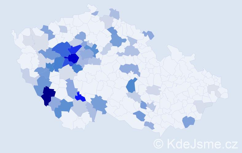 Příjmení: 'Houba', počet výskytů 226 v celé ČR