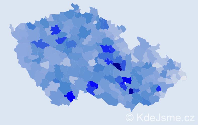 Příjmení: 'Kučerová', počet výskytů 15832 v celé ČR