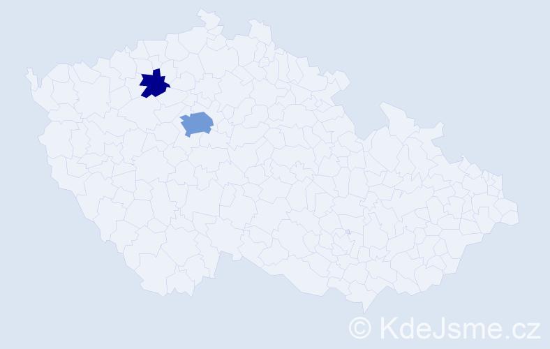 Příjmení: 'Cezner', počet výskytů 12 v celé ČR