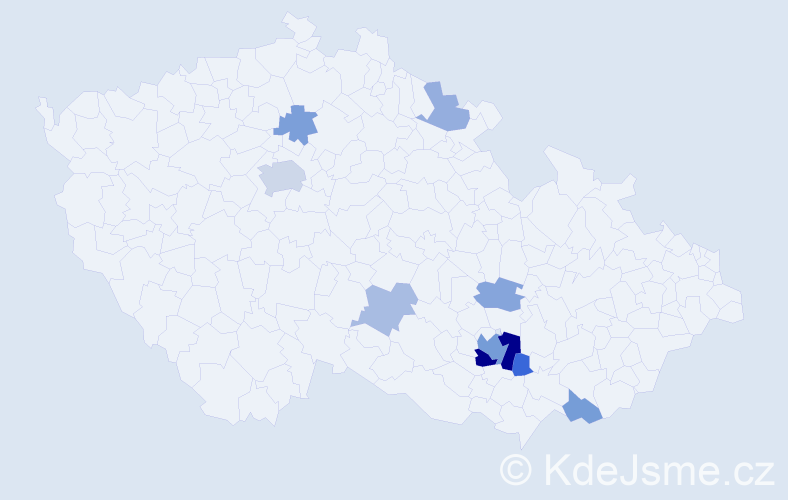 Příjmení: 'Gale', počet výskytů 21 v celé ČR