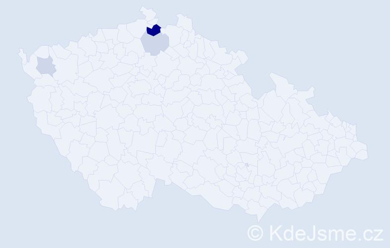 Příjmení: 'Čučmanová', počet výskytů 7 v celé ČR