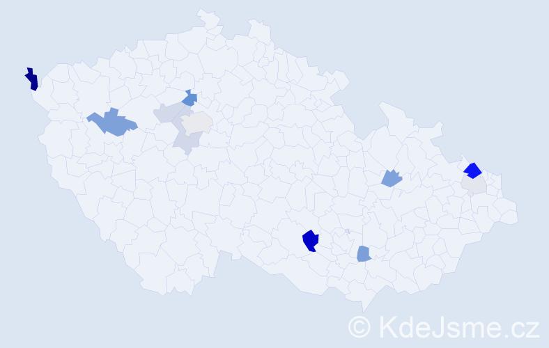 Příjmení: 'Gubala', počet výskytů 20 v celé ČR