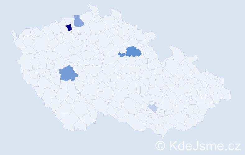 Příjmení: 'Benett', počet výskytů 6 v celé ČR