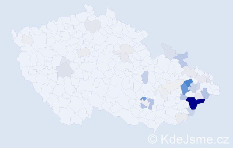 Příjmení: 'Dančák', počet výskytů 170 v celé ČR