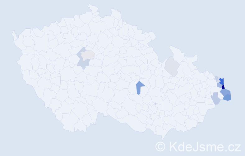 Příjmení: 'Konieczny', počet výskytů 55 v celé ČR