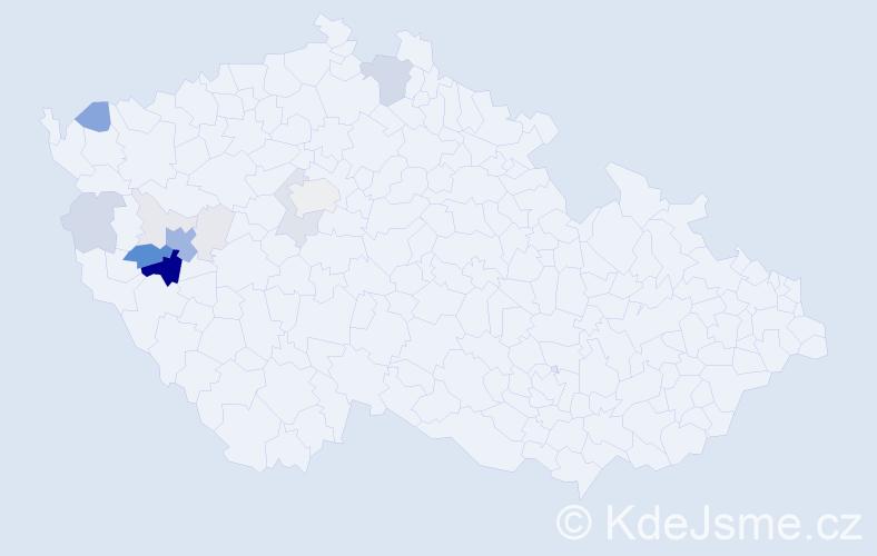 Příjmení: 'Jeslínek', počet výskytů 69 v celé ČR