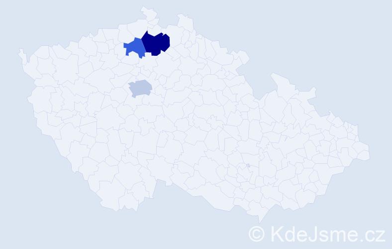 """Příjmení: '""""El Hassanová""""', počet výskytů 5 v celé ČR"""