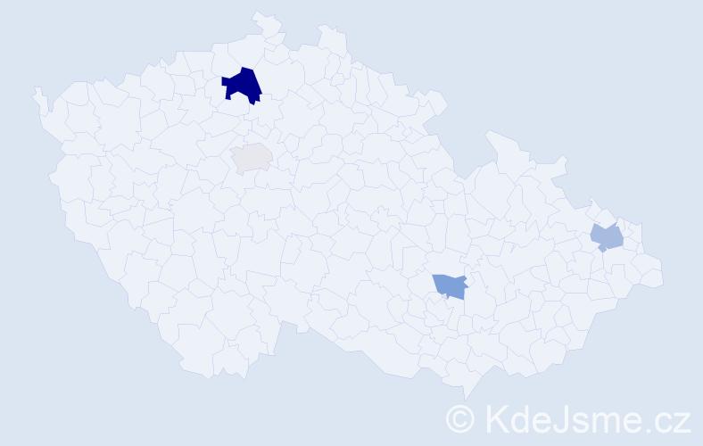 Příjmení: 'Ďabolková', počet výskytů 8 v celé ČR