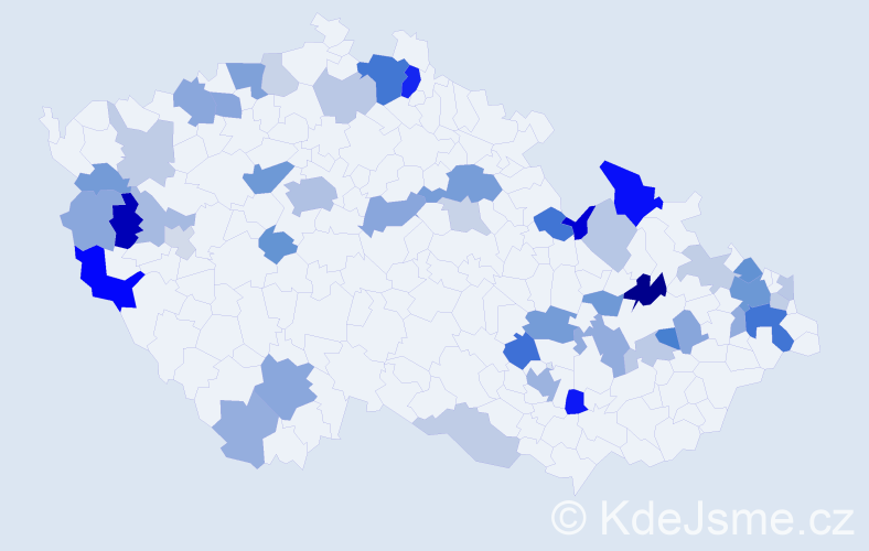 Příjmení: 'Čižmár', počet výskytů 109 v celé ČR