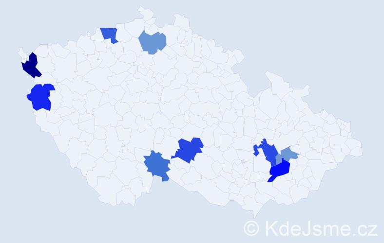 Příjmení: 'Ďurčáková', počet výskytů 14 v celé ČR