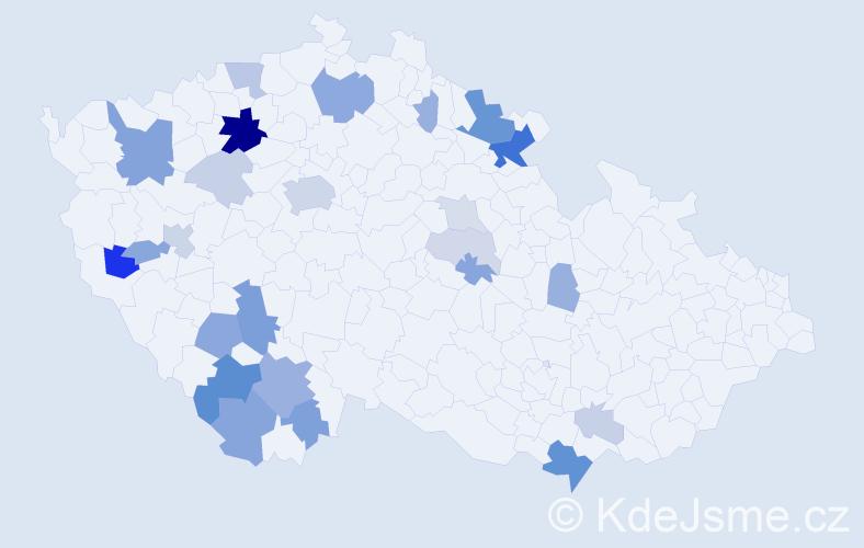 Příjmení: 'Červíčková', počet výskytů 72 v celé ČR